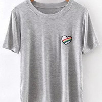 Grey Short Sleeve Heart Embroidery Casual T-shirt