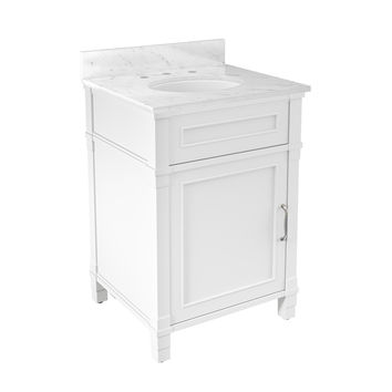 Rosedale White Bath Vanity with Marble Top