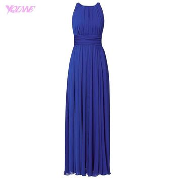 2017 Royal Blue Chiffon Bridesmaid Dresses Long Maid of Honor Dress Zipper Back Floor Length Wedding Party Gowns
