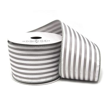 Cabana Stripes Satin Wired Ribbon, Silver, 2-1/2-Inch, 10 Yards