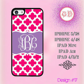 USA Custom Hot Pink Git Puzzled Pattern Monogram @ IPhone 5 Case , IPhone 5S Case , IPhone 4 Case ,  IPhone 4S Case , IPad Smart Cover  #17
