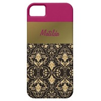 Gold damask and Red iPhone SE/5/5s Case