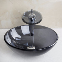 US Bathroom Modern Tansparent Artistic Glass Vessel Sink Faucet & Pop up Drain Combo