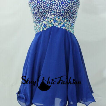 Royal Srapless Colorful Beaded Short Ruched Chiffon Dress for Homecoming