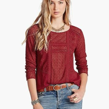Lucky Brand Lace Peasant Top Womens