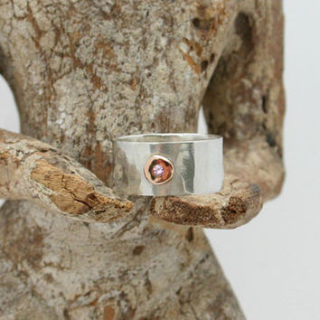 Sterling silver band ring. 14k solid gold and silver wide, thick, hammered band ring with custom gemstone. Birthstone jewelry. Mixed metal