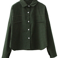 Army Green Plaid Long Sleeve Single Breasted Blouse