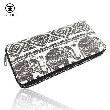 TZECHO Zipper Around Women Organizer Wallets PU Print Animal Elephant Long Femal Purse Coin Pocket Credit Card Holder Clutch Bag