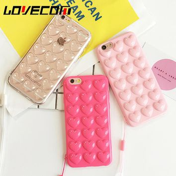 LOVECOM Korean Love Heart Jelly Candy Phone Case For iphone 5 5S SE 6 6S 7 8 Plus X With Lanyard Soft Silicon TPU Back Cover