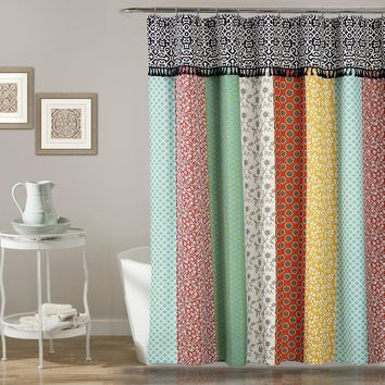 Striped Boho Tassel Shower Curtain