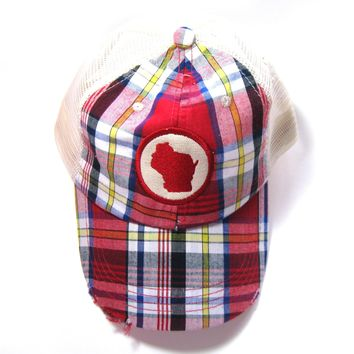 Wisconsin Hat - Distressed Trucker Hats - Plaid Patched State Hat - Wisconsin - All states available