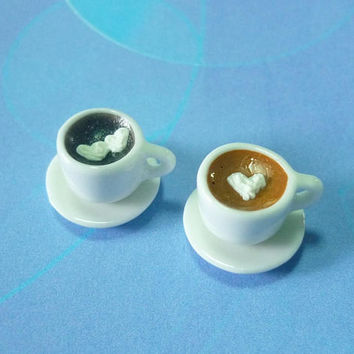 Miniature coffee cup set 2 mini coffee heart whipped cream -ceramic cup black coffee -miniature drink -dollhouse miniatures -1 12 scale