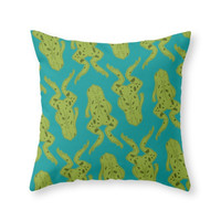 Society6 Frogs Throw Pillow
