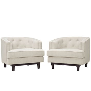 Modway Coast Arm Chair in Tufted Beige Fabric on Walnut Stained Legs (set of 2)