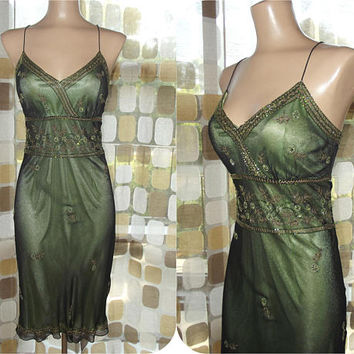 Vintage 90s Beaded Silk Slip Dress | Black & Peridot Green Sheer Beaded Dress | Gatsby 20s Inspired Dress | Flapper Dress | Size 10