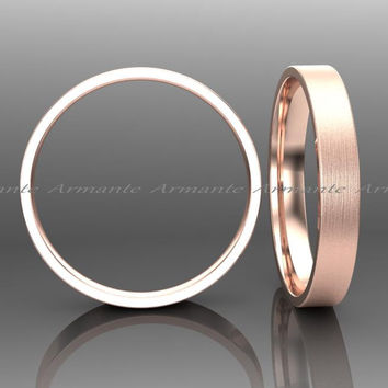 3.00mm Wide Wedding Band, 14k Solid Rose Gold Hand Made Wedding Ring Stuck Band Brushed Finish