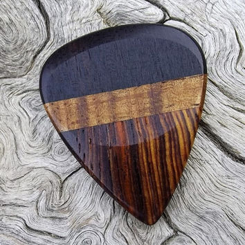 Multi-Wood Guitar Pick - Premium Quality - Handmade With Cocobolo Rosewood, Hawaiian Koa, & East Indian Rosewood - Actual Pick Shown -