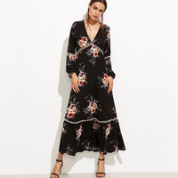Retro flowers Floral Printed Long Sleeve Maxi Dress