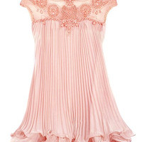 Pink Beaded Organza Ruffled Dress