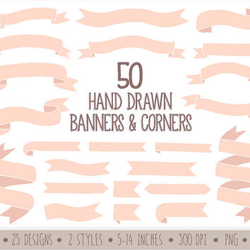 SALE - 50%. Hand Drawn Banners Clip Art. Doodle Ribbon Banners. Pastel Pink Banners Clipart. Baby Shower Digital Ribbon Clipart.