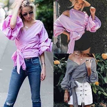 Fashion Women Casual Loose Plaid Ruffle Sleeve Waist Tie Cross Off Shoulder Shirt V-neck Blouse Bardot Top