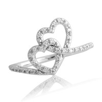 1/6 CT. T.W. Diamond Double Heart Promise Ring in Sterling Silver - View All Rings - Zales