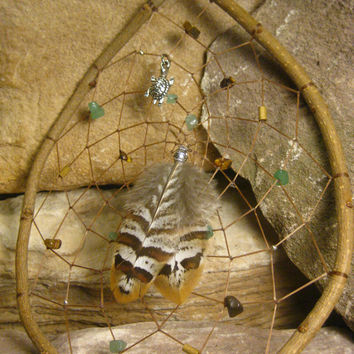 Native American Natural Wood Dreamcatcher with Tigers Eye & Adventurine Gemstones, Turtle Charm from The Hidden Meadow