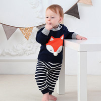 2pcs/set Children Baby Girls boys jumper fall Winter cartoon fox suit cardigan sweater+pants Clothes kids warm outwear clothing