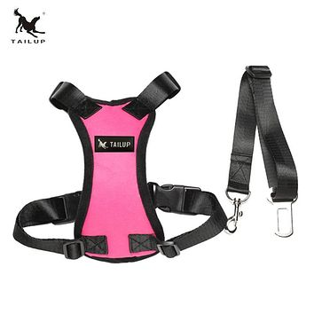 TAILUP Hot Sale Auto Dog Car Harness With Seat Belt 7Colors Adjustable  Pet Harness For Puppy Dog Safety S/M/L/XL