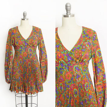 Vintage 1960s Dress - Psychedelic Day Glo Paisley Printed Mini GoGo Cocktail 60s - XS Extra Small