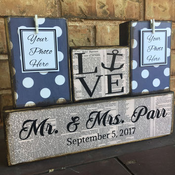 Nautical wedding gift for couple, bridal shower gift, bride gift, groom gift, nautical anchor beach art mr and mrs sign husband gift wife