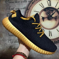 """Adidas"" Women Yeezy Boost Sneakers Running Sports Shoes Black golden"