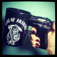 1Piece 15oz Sons of Anarchy Gun Handle Coffee Mug Pistol Mug Ceramic Cup (Size: 1, Color: Black)