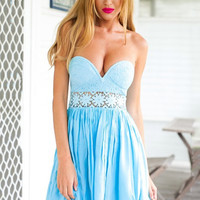 Blue V-neck Strapless Lace Accent A-Line Pleated Mini Dress