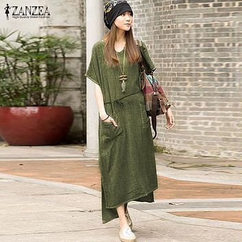 ZANZEA New Fashion Summer 2016 Women Casual Cotton Linen Dress Split Asymmetrical Beach Long Maxi Dresss Vestidos Plus Size