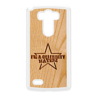 Carved on Wood Effect_Celebrity Hater White Hard Plastic Case for LG G3 by Chargrilled
