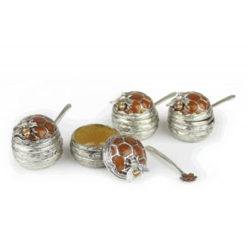 Mini Beehive Honey Dish Set - of 4 by Quest, Serving Pieces In Brown::Silver Size: 1.75x1.5