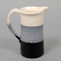 peter shire   echo park - tri dipped pitcher white   black   grey