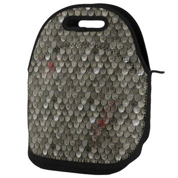PEAPGQ9 Battle Damage Steel Scale Armor Lunch Tote Bag