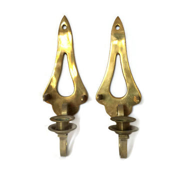 Vintage Home Decor Pair of Brass Wall Hanging, Candle Sconces, Holders, Candlesticks, Decorative, Triangle, Geometric