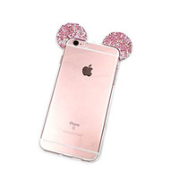 "iPhone 6S Plus Case, MC Fashion Flexible Mickey Mouse 3D Bling Crystal Rhinestone Ears TPU Soft Shell Case for Apple iphone 6S Plus 5.5""(2015) & iphone 6 plus 5.5""(2014) (Bling-Multi)"