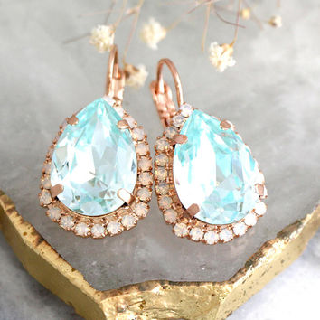 Aquamarine Earrings, Bridal earrings, Aquamarine Drop Earrings, Light blue Earrings, Bridesmaids Earrings, Aquamarine Crystal Drop Earrings