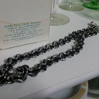 Stainless Steel Chainmail Necklace with Black Accents 6 in 3