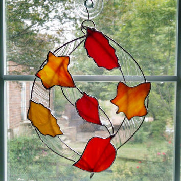 Stained Glass Leaf Sculpture Suncatcher - Fall Decor - Autumn Decor - Leaf Ornament - Fall Leaves - Glass Art - Thanksgiving Decor  - Wreath