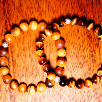 Tiger's eye unisex bracelet, men jewelry, Energy stone bracelet, Zen jewelry, Men trend, Men Fashion, silver 925 beads, couple  bracelet