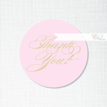 DIY Thank You Favor Favour Tags Labels Stickers Gold Pink Glitter Bridal Shower Birthday Wedding Round Square Printable Digital