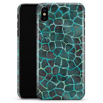Blue-Green and Black Watercolor Giraffe Pattern - iPhone X Clipit Case