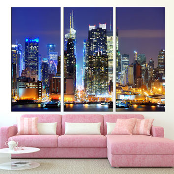 New York City Manhattan Skyline wall art canvas print, Manhattan canvas print large wall art, new york canvas art print extra large t262