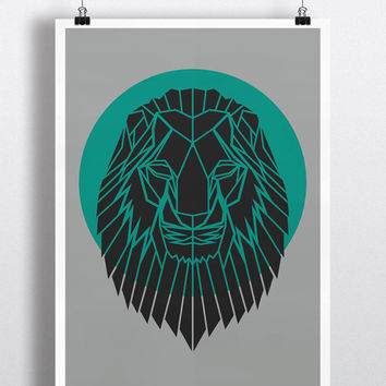 Art Print, Geometric Lion Head Print, Cool Gray Lion Head Art, Teal Circle,Safari Art, Nursery Art, Animal Art