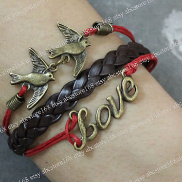 Love Bracelet-Bird Bracelet-Adjustable Red Rope Bracelet -gift for girlfriend